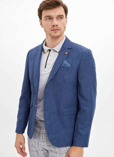 DeFacto Keten Görünümlü Regular Fit Blazer Ceket Lacivert